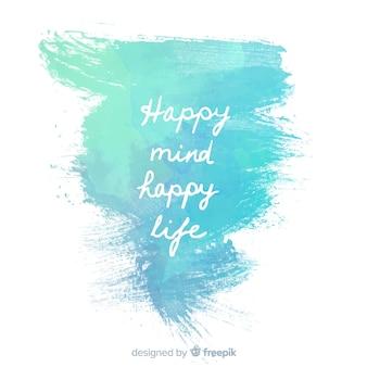 Tinta de água azul com mensagem positiva
