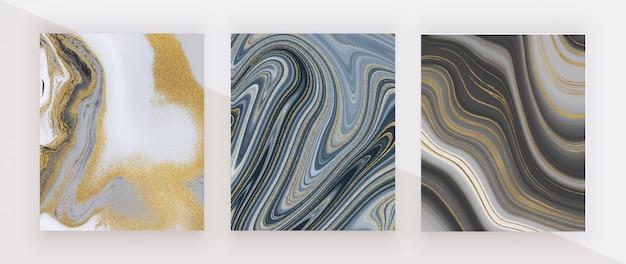 Tinta de glitter preto e dourado pintura textura de mármore líquido.