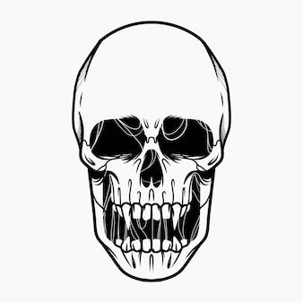 Tinta de ilustração de cabeça de crânio