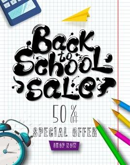Tinta fluindo em forma de letras venda de volta às aulas