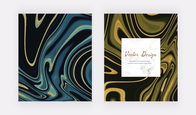 Tinta líquida azul e preta com cartões de glitter dourados e moldura de mármore.