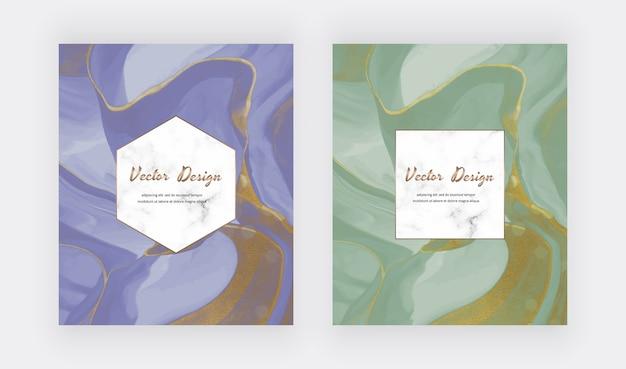Tinta líquida azul e verde com cartões de textura de glitter dourados.