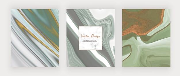 Tinta líquida azul e verde com glitter dourado e moldura de mármore.