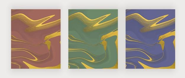 Tinta líquida azul, verde e vermelha com fundos abstratos de textura de folha.