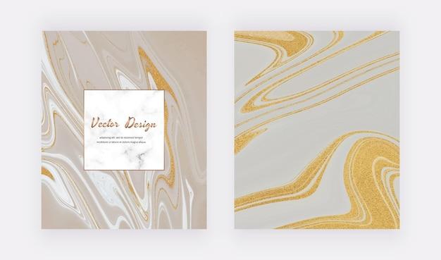 Tinta líquida cinza com capas de glitter dourados para convites