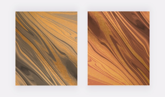 Tinta líquida preta e vermelha com fundos abstratos de textura de folha.