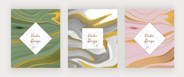 Tinta líquida verde, cinza e rosa com cartões de textura de glitter dourado com moldura de mármore