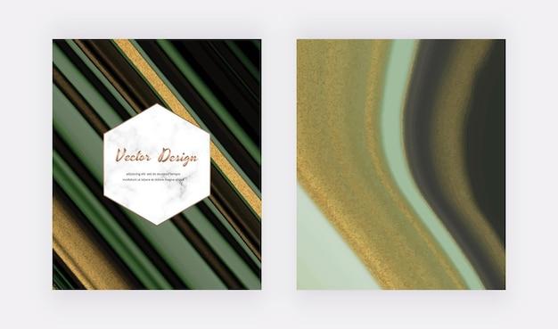 Tinta líquida verde com capas de glitter dourados para convites