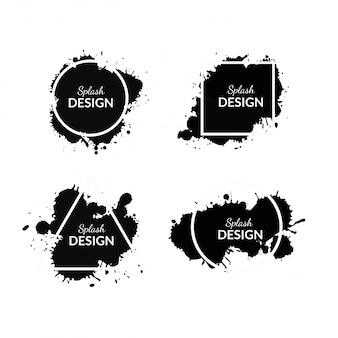 Tinta preta splash com formas geométricas