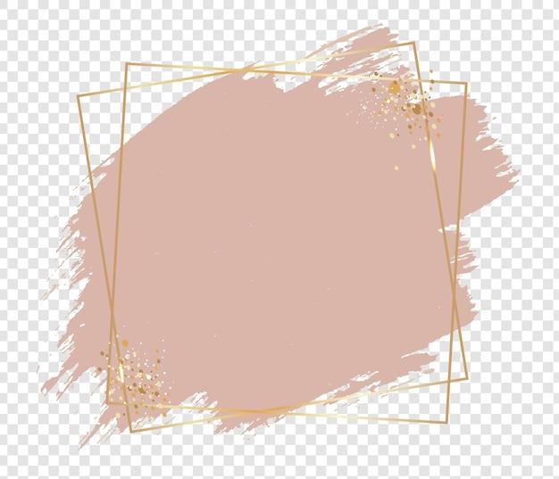 Tinta rosa com moldura dourada