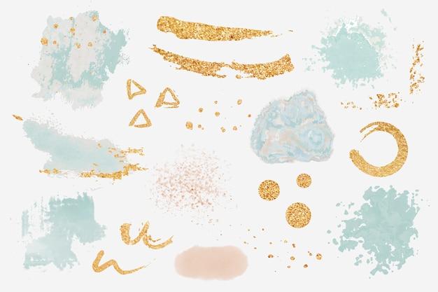 Tinta splatter design elementos conjunto vector