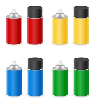 Tinta spray em um conjunto de lata de metal