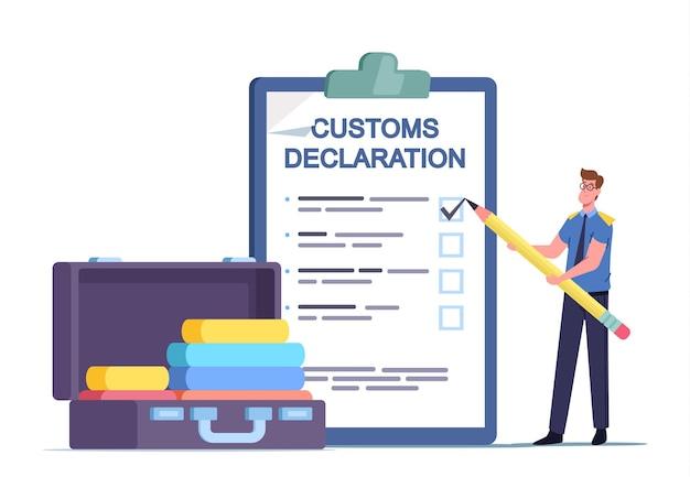 Tiny airport security, customs officer character preenchendo enorme declaração de documento e check passageiro para bagagem confisca frete ilegal e coisas proibidas