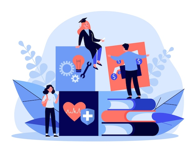 Tiny aluno aprendendo em diferentes campos. engenharia, finanças, ilustração de medicina. conceito de estudo e educação para banner, site ou página de destino
