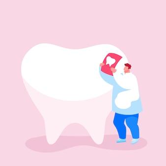 Tiny dentist doctor character care of enorme tooth examina imagem de raio x