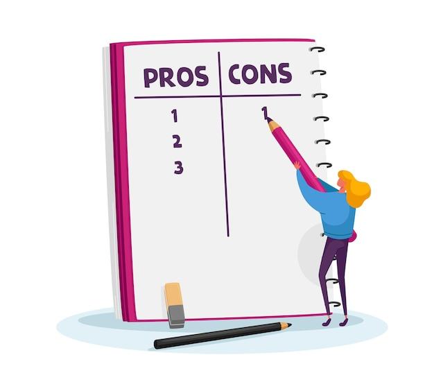 Tiny girl toma decisões importantes no notebook com lista de prós ou contras