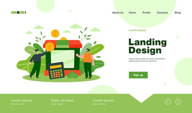 Tiny partners dando assistência subsidiada à página de destino de negócios em estilo simples