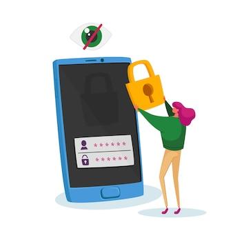 Tiny woman character stand no enorme celular coloque o cadeado na tela com a senha