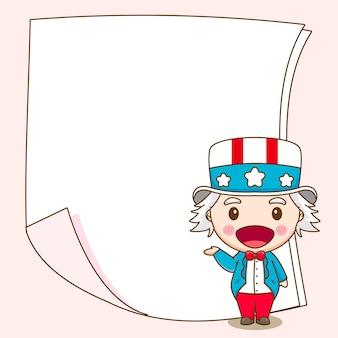 Tio sam fofo com papel em branco atrás da ilustração do personagem de desenho animado