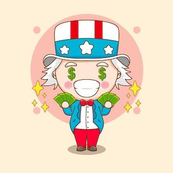 Tio sam fofo segurando dinheiro com estrelas ao redor da ilustração do personagem de desenho animado