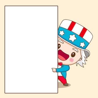 Tio sam fofo segurando uma ilustração de personagem de desenho animado em papel em branco