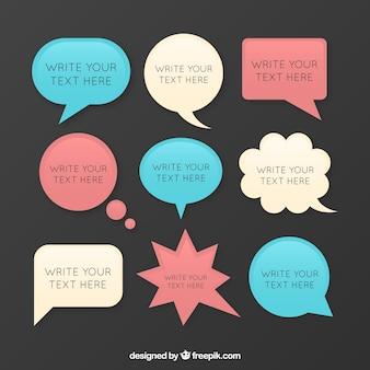 Tipo de bolhas do discurso com texto