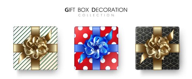 Tipo de caixa de presente em vista superior para decoração