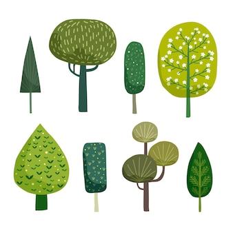Tipo de coleção de árvores desenhado à mão