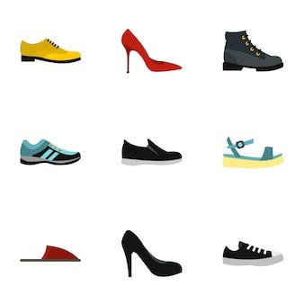 Tipo de conjunto de sapatos, estilo plano