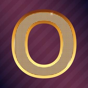 Tipo de fonte de vetor ouro letra o para logotipo ou ícone
