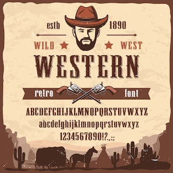 Tipo de fonte ocidental wild west style letters, numbers