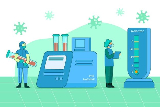 Tipo de ilustração do teste de coronavírus