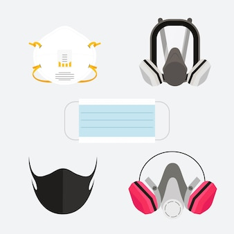 Tipo de infográfico de máscaras faciais
