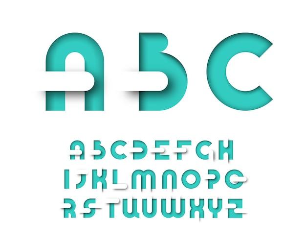 Tipo de layout gráfico em cores menta. alfabeto decorativo para cartazes, publicidade, revistas.
