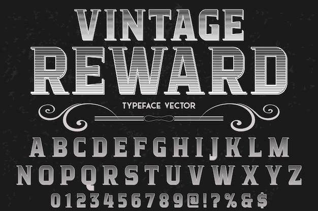 Tipo de letra alfabético estilo gráfico vintage recompensa
