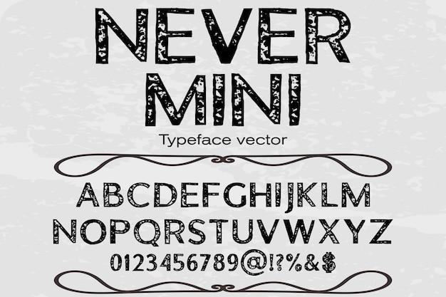 Tipo de letra alfabeto fonte design nunca mini