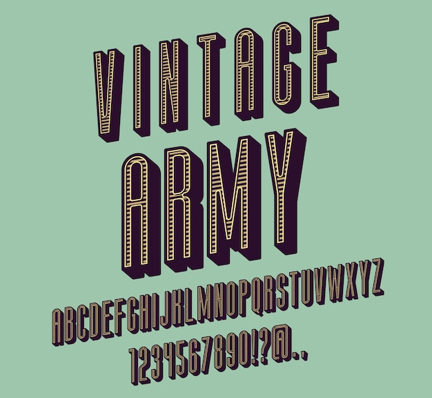 Tipo de letra condensado vintage itálico sans serif. alfabeto itálico com sombras da letra. conjunto de caracteres oblíquos