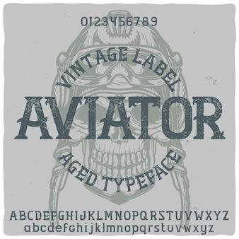 Tipo de letra da etiqueta original chamado