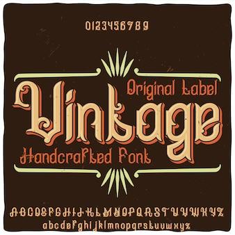 Tipo de letra da etiqueta original com o nome