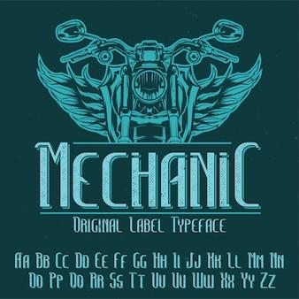 Tipo de letra da etiqueta original denominado 'mecânico'. bom para usar em qualquer design de etiqueta.