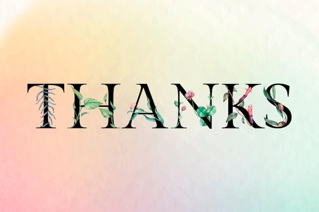 Tipo de letra da fonte botânica do texto de agradecimento