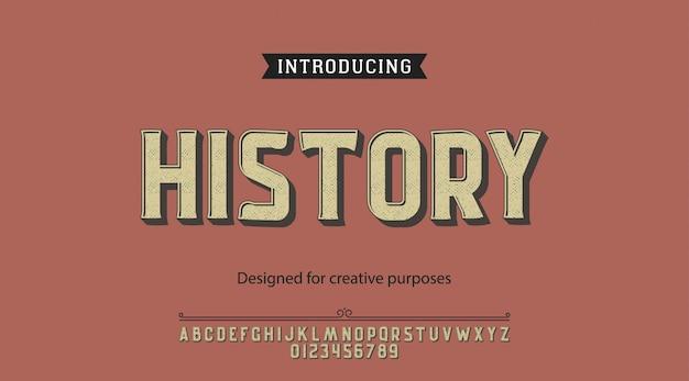 Tipo de letra da história.para rótulos e designs de tipos diferentes