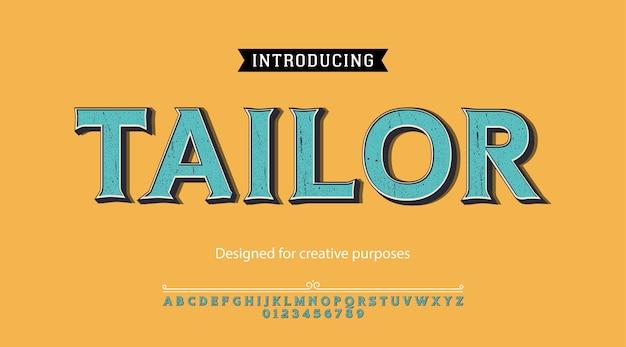 Tipo de letra de alfaiate. para rótulos e designs de tipos diferentes