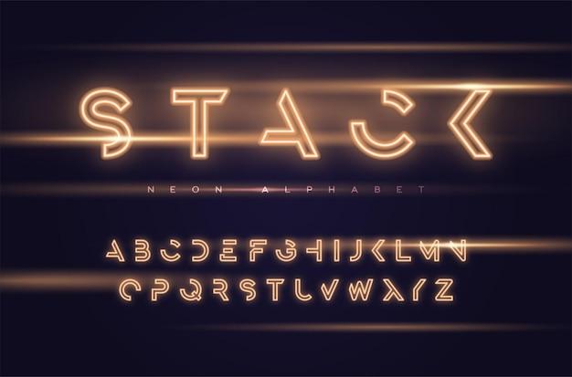 Tipo de letra de exibição futurista de néon, fonte, alfabeto, tipografia amostras globais