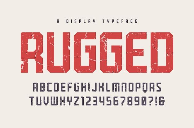 Tipo de letra de exibição resistente, fonte, letras maiúsculas e números, alfabeto, tipografia. amostras globais