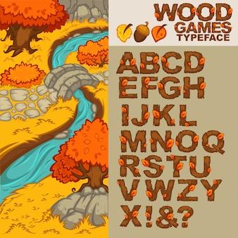 Tipo de letra de madeira dos desenhos animados