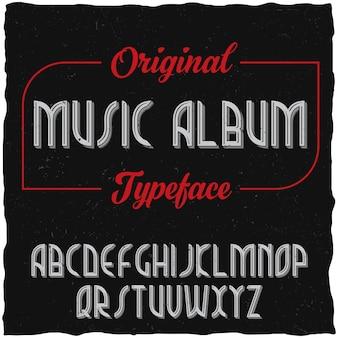 Tipo de letra de rótulo vintage chamado álbum de música.