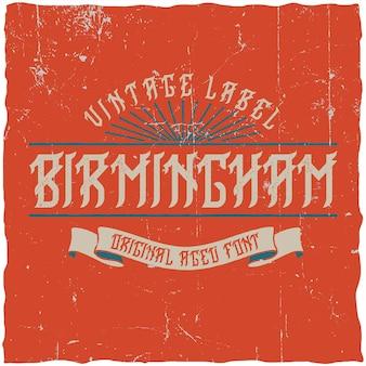 Tipo de letra de rótulo vintage chamado birmingham.