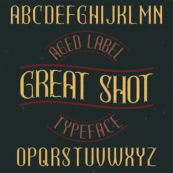 Tipo de letra de rótulo vintage chamado great shot.