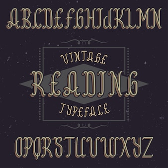 Tipo de letra de rótulo vintage chamado reading.